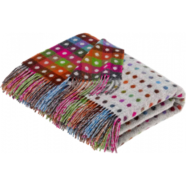Plaid Rainbow Multi Spot Grey